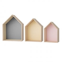 Etagère murale bloomingville maisons multicolores (set de 3)