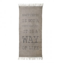 Bloomingville alfombra happiness is a way of life beige gris