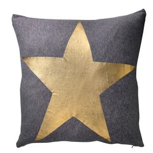 Coussin gris étoile dorée bloomingville star