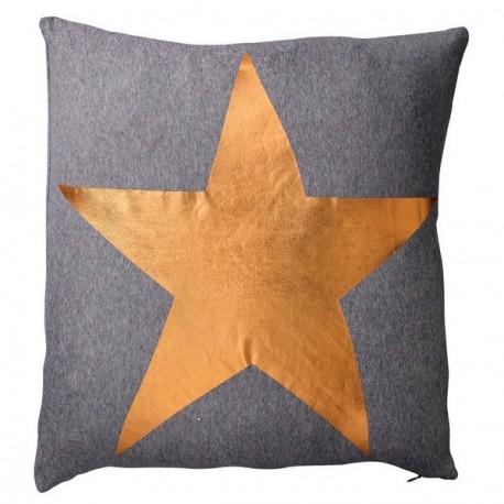 Coussin décoratif gris anthracite étoile cuivre bloomingville