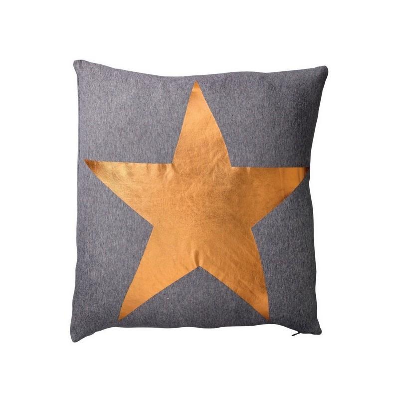 coussin d coratif gris anthracite toile cuivre bloomingville. Black Bedroom Furniture Sets. Home Design Ideas
