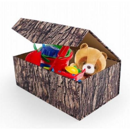 Coffre rangement jouets carton pliable woodblock kikkerland L