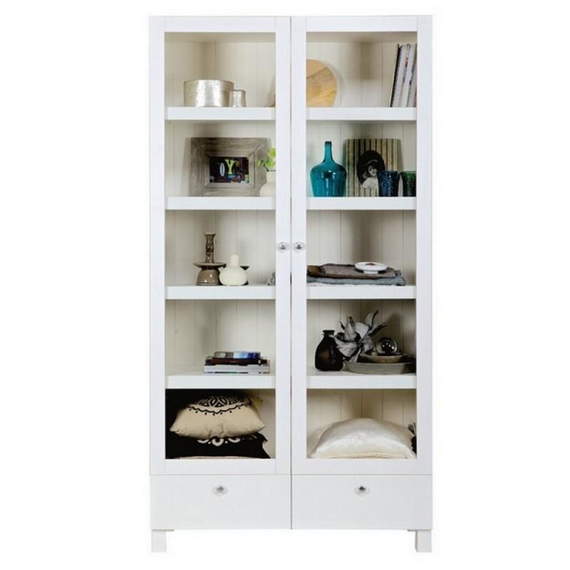 vaisselier vitrine blanc bois massif schap woood. Black Bedroom Furniture Sets. Home Design Ideas
