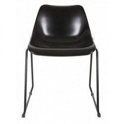 Chaise design en métal noir bucket woood