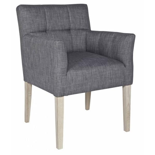 Chaise fauteuil design confortable tissu gris woood for Fauteuil confortable design