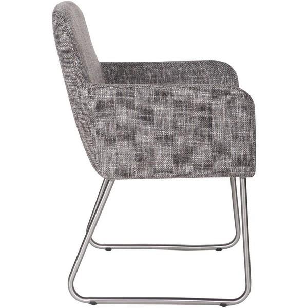 Chaise fauteuil confort design tissu gris crafton woood - Chaise tissu design ...