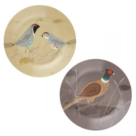 Assiette porcelaine création magpie game birdy (set 2)