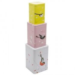 Boîtes de cuisine décoratives multicolores dessin oiseaux magpie birdy (set 3)