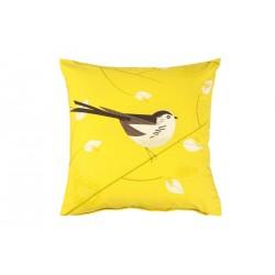 Coussin décoratif jaune motif oiseau magpie birdy