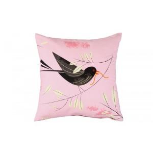 Coussin décoratif rose oiseau magpie blackbird