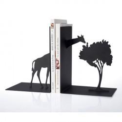 Serre-livres rigolo girafe métal noir