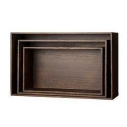 Bloomingville mahogany rectangular shelves set of 3