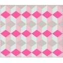 Plaid déco rose motifs géométriques present time block