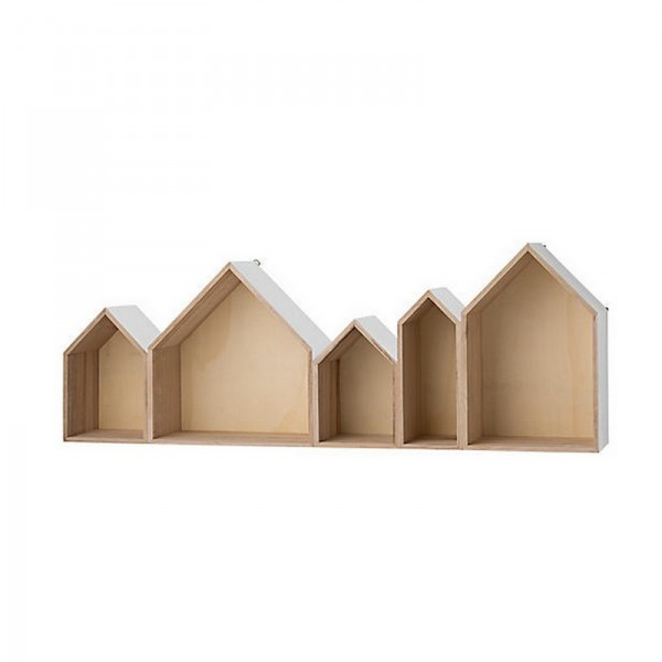 Etag re murale 5 maisons en bois naturel blanc bloomingville kdesign - Etagere murale design bois ...