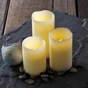 Bougies cire LED crème tenna sirius lot de 3