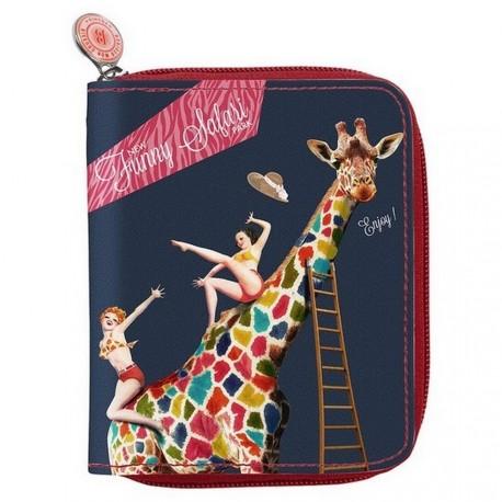 Portefeuille original bonjour mon coussin girafe safari