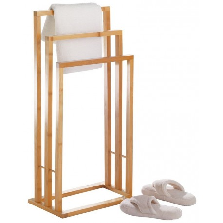 Porte-serviettes sur pied en bois de bambou zeller