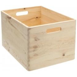 Boîte de rangement en bois pin massif 40 x 30 x 24 cm