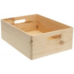 Boîte de rangement en bois naturel zeller 40 x 30 x 15 cm