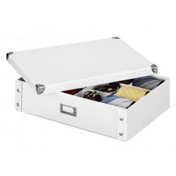 Boite de rangement pour cravates et ceintures carton blanc 44,5 x 31,5 x 11 cm