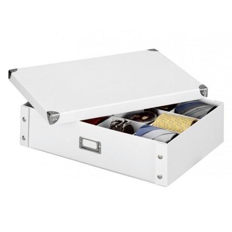 Boite de rangement pour cravates et ceintures carton blanc Zeller 44,5 x 31,5 x 11 cm