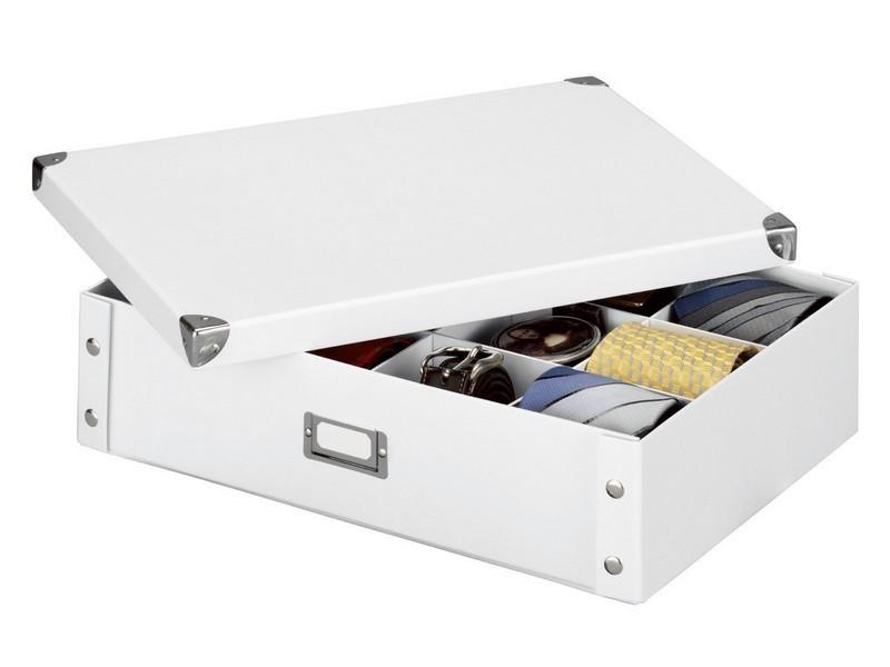 Boite de rangement pour cravates et ceintures carton blanc Zeller 44 ...