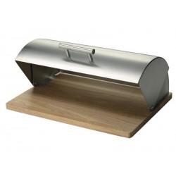 Boîte à pain design inox bois hévéa Zeller