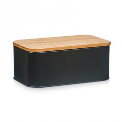 Zeller 25372 Bread Bin, bamboo and metal matt black