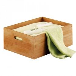 Caisse de rangement en bois de bambou 40 x 30 x 14 cm