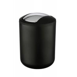 Wenko Brasil Poubelle à bascule noire salle de bains