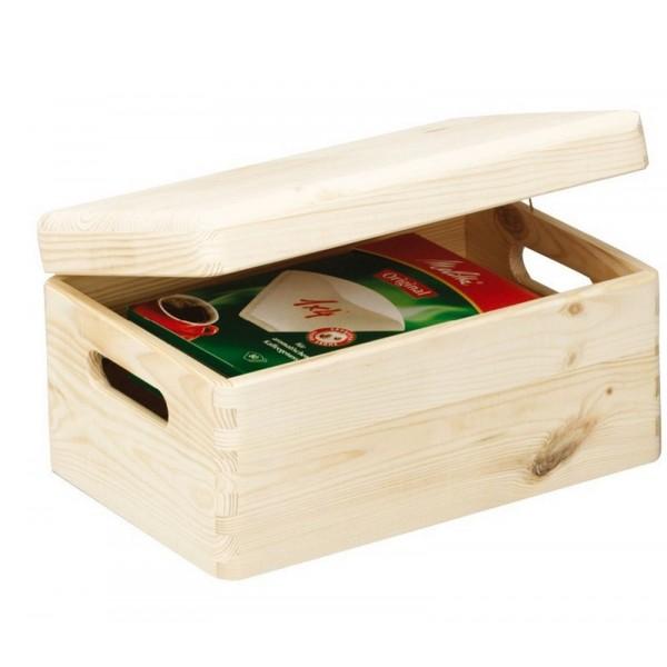 petite boite avec couvercle en bois massif de pin zeller 13150. Black Bedroom Furniture Sets. Home Design Ideas