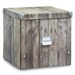 Boite de rangement carrée en carton zeller wood 33.5 x 33 x 32 cm