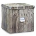 Boite de rangement carrée en carton zeller wood 17869