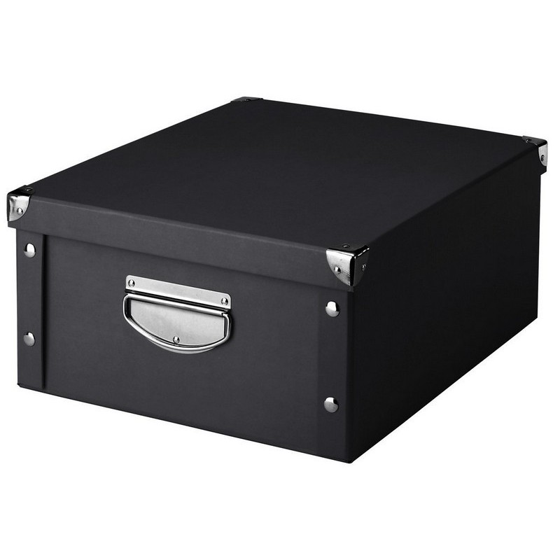 boite de rangement noire en carton zeller 17928 kdesign. Black Bedroom Furniture Sets. Home Design Ideas