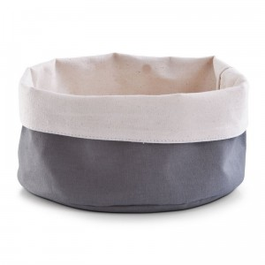 Corbeille en tissu coton gris crème zeller D 20 cm