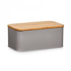 Zeller 25371 Bread Storage Bin, metal matt grey, bamboo