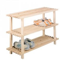 Etagere à chaussures en bois de pin 3 etages zeller 13127