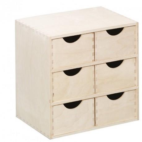 Caisson en bois 6 tiroirs zeller 13192