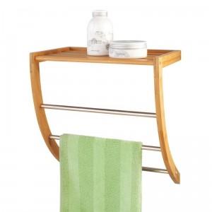 Porte-serviettes mural étagère bois de bambou zeller