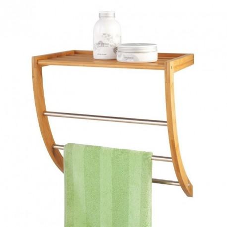 porte serviettes mural tag re bois de bambou zeller 13595. Black Bedroom Furniture Sets. Home Design Ideas