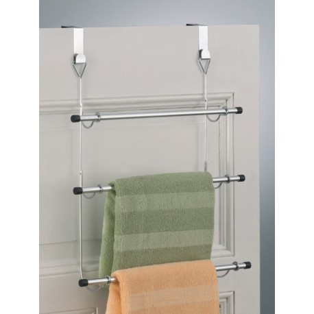 Porte serviettes a suspendre sur porte m tal chrom zeller - Porte serviette a suspendre ...