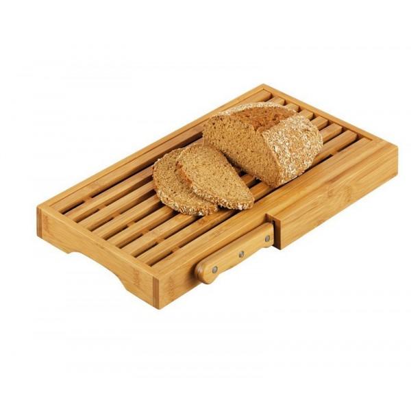 planche a pain bois bambou avec couteau zeller 25225. Black Bedroom Furniture Sets. Home Design Ideas