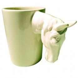 Tasse anse tête animal cheval céramique