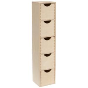 Mini colonne bloc rangement 5 tiroirs bois brut zeller