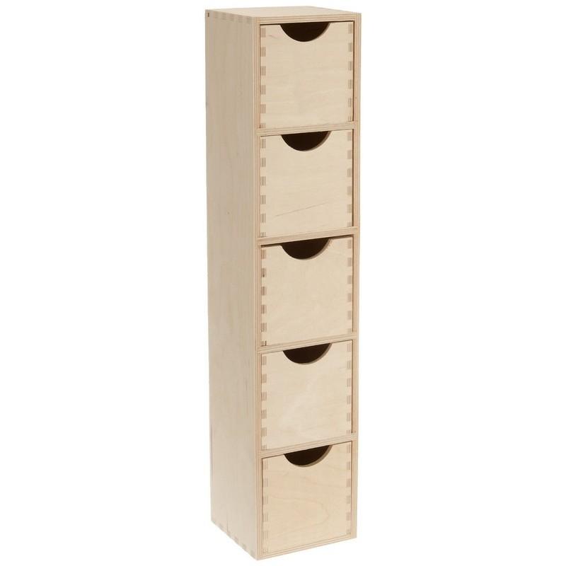 Mini colonne bloc rangement 5 tiroirs bois brut zeller 13190 for Petit meuble rangement avec tiroirs