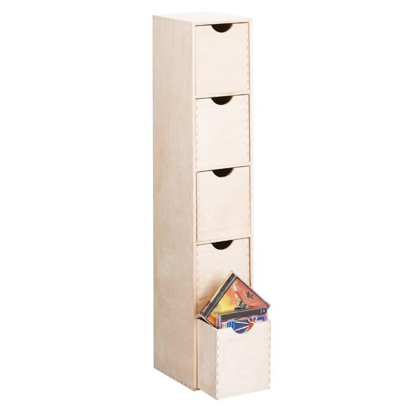 colonne tour range cd bois naturel zeller 13195. Black Bedroom Furniture Sets. Home Design Ideas