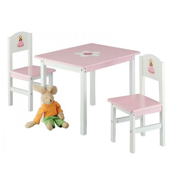 Zeller 13442 princess table and 2 chairs pink wood kdesign - Table et chaise blanche ...