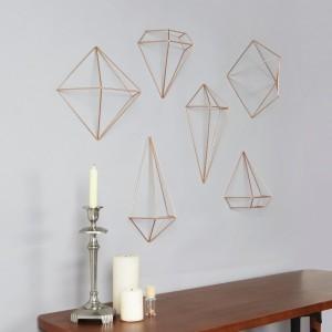 Décor mural géométrique métal cuivre umbra prisma