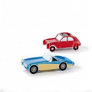 Voitures miniatures décoratives carton studio roof rouge bleu