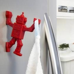 Patere magnetique robot rouge robohook peleg design